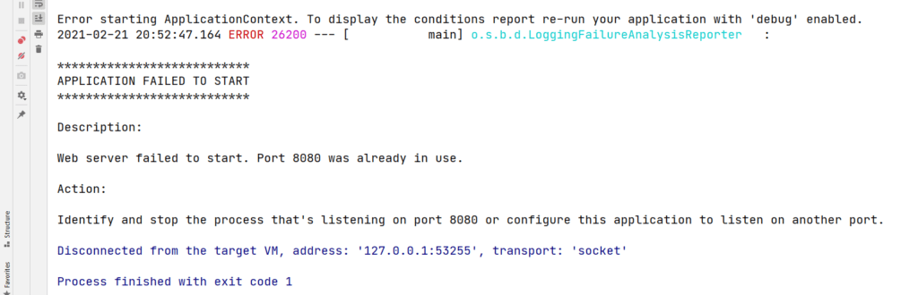 Web server failed to start. Port 8080 was already in use