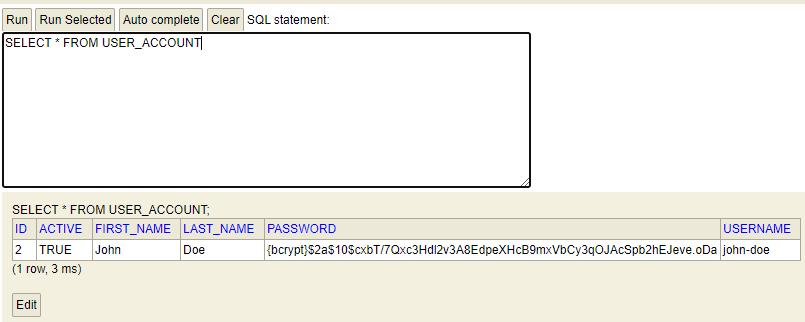 Password encoder using Bcrypt algorithm