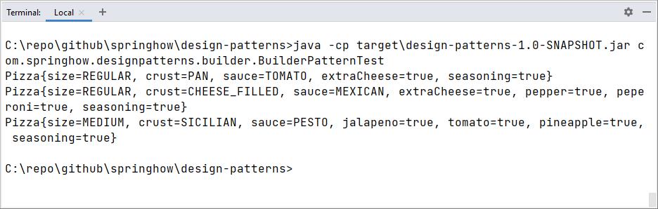 builder pattern example in java