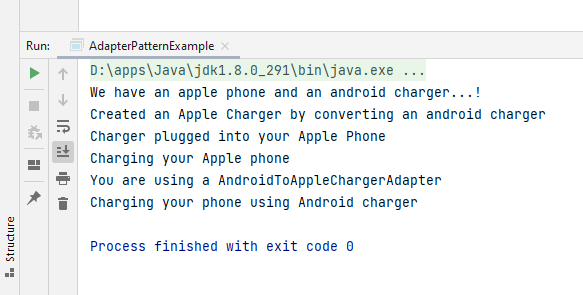 Example for Adapter design pattern in Java
