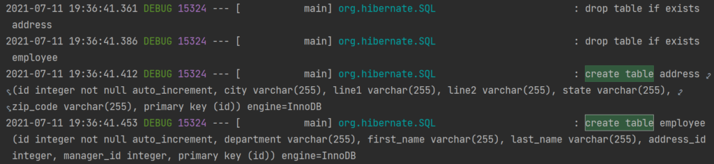 debug logs showing DDL statements from hibernate while initializing schema