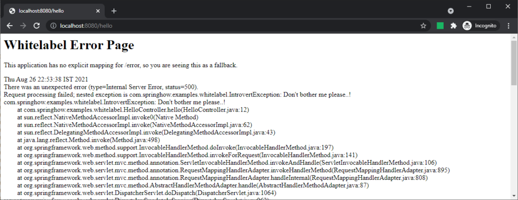 whitelabel error page with details