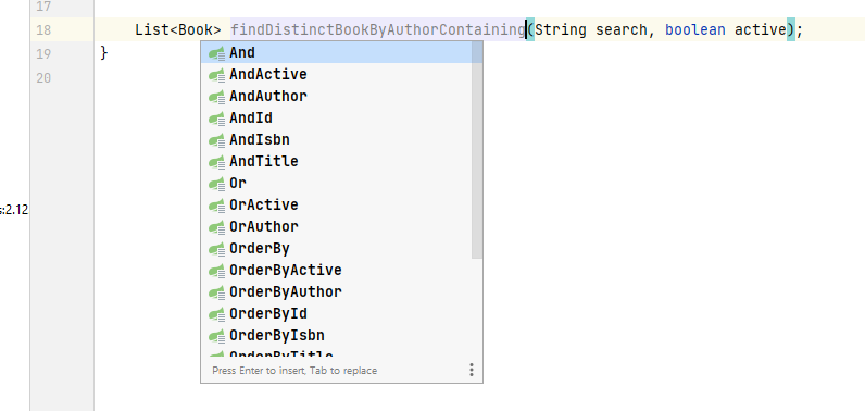 spring data jpa support in Intellij for a Spring boot application