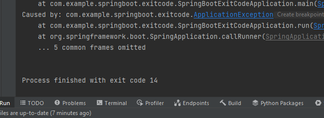 custom exception with exit code.