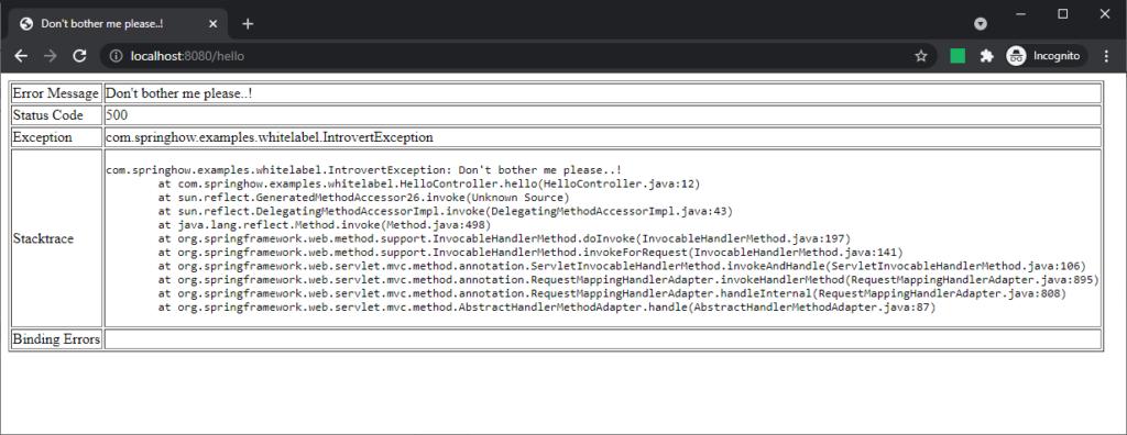 whitelabel page showing error details