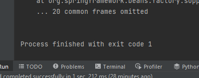 Intellij showing Process finished with exit code 1 for a spring boot application